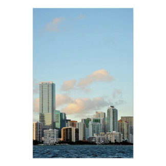 Miami skyscrapers against wide clear sky poster