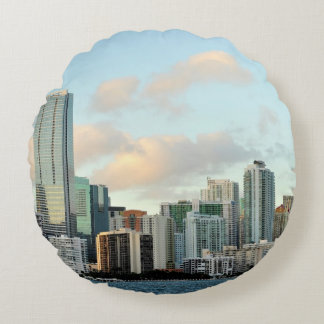 Miami skyscrapers against wide clear sky round cushion