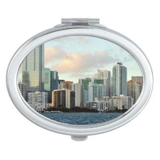 Miami skyscrapers against wide clear sky vanity mirror