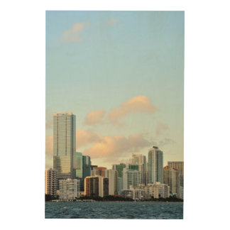 Miami skyscrapers against wide clear sky wood wall art