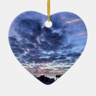 Miami South Point Sunrise Ceramic Heart Decoration