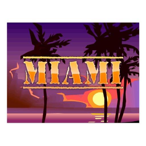 Miami Sunrise and Palm Trees Beach Postcard