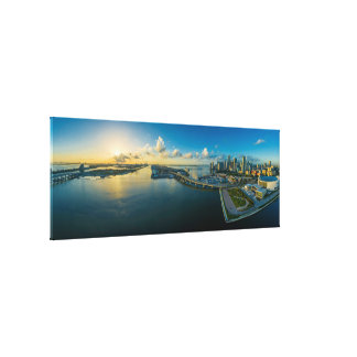 Miami Sunset Panorama View Crisp Ultra HD Canvas