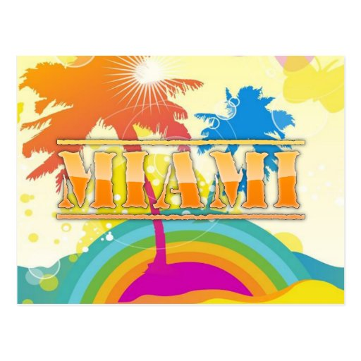 Miami Sunshine and Rainbow Postcard