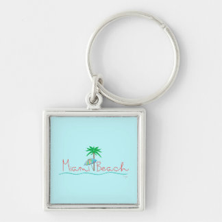Miami with Palm and Umbrella Key Ring
