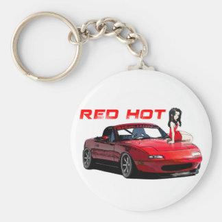 Miata MX-5 Red Hot Basic Round Button Key Ring