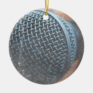 mic close up photo grunge overlay color music christmas ornament