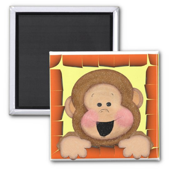 Mica Monkey Square Magnet