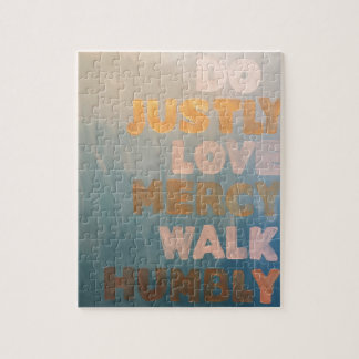 Micah 6:8 Gold and Teal Jigsaw Puzzle