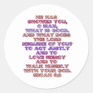 Micah 6:8 round sticker