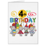 Mice 4th Birthday T-shirts and Gifts Greeting Card
