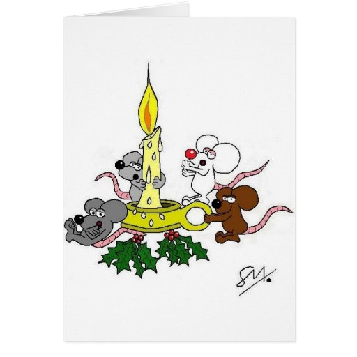 Mice and the christmas candle greeting card