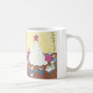 Mice around a Cheese Christmas Tree Coffee Mug