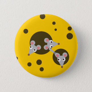 Mice in cheese 6 cm round badge