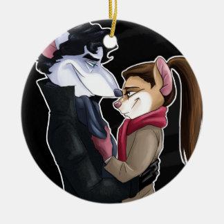 Mice love round ceramic decoration