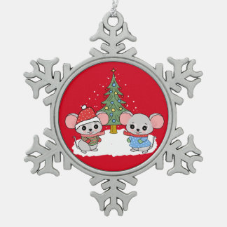 mice of Christmas Pewter Snowflake Decoration