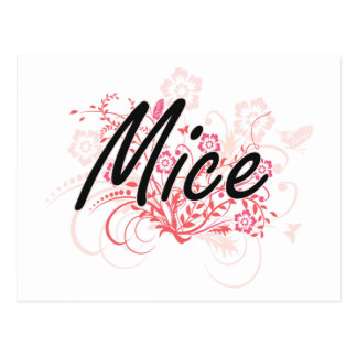 Mice with flowers background postcard