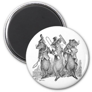 Mice with Silverware 6 Cm Round Magnet