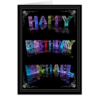 Michael - Name in Lights greeting card (photo)