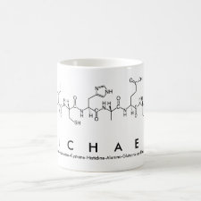 Mug featuring the name Michael spelled out in the single letter amino acid code