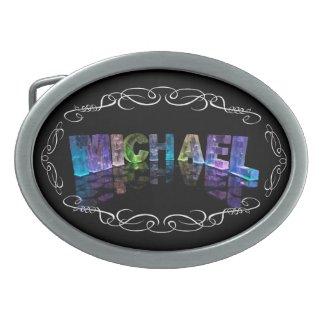 Michael - The Name Michael in 3D Lights (Photogra Belt Buckle