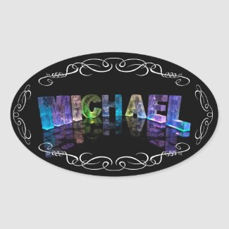 Michael - The Name Michael in 3D Lights (Photogra Oval Sticker