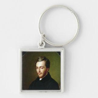Michel Chevalier Silver-Colored Square Key Ring