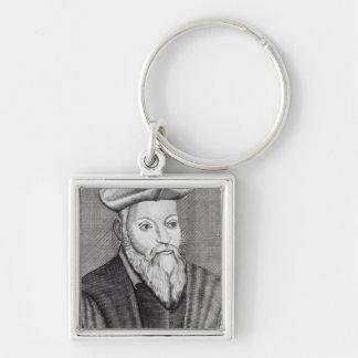 Michel Nostradamus Silver-Colored Square Key Ring