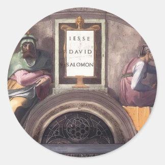 Michelangelo: Ancestors of Christ: David, Solomon Round Stickers