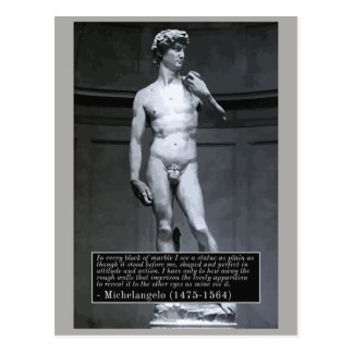 Michelangelo 'block of marble' quote postcard