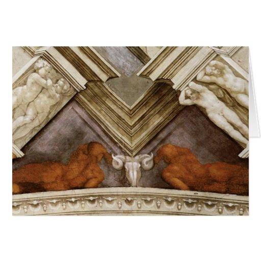 Michelangelo Bronze Nudes Sistine Chapel Greeting Card