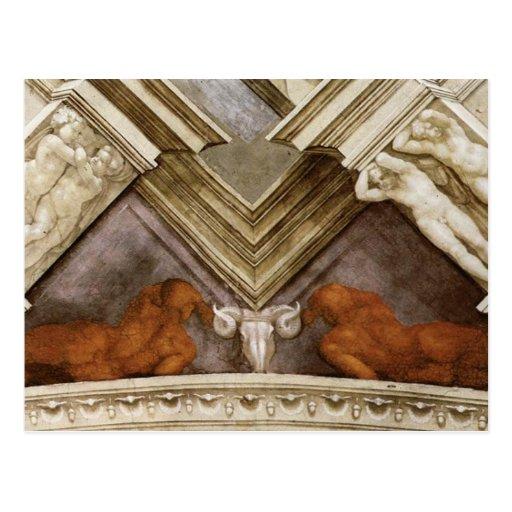 Michelangelo Bronze Nudes Sistine Chapel Postcards