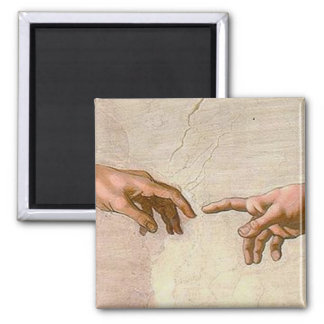 Michelangelo Creation of Adam Square Magnet