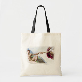 Michelangelo Creation Of Man Fist Bump Tote Bags
