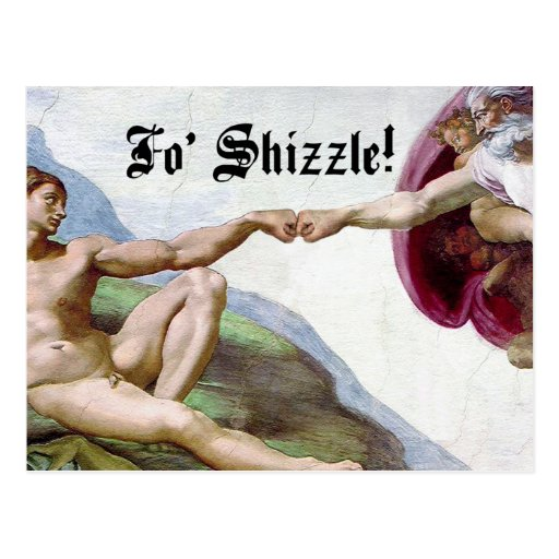 Michelangelo Creation Of Man Fo Shizzle Fist Bump Post Cards