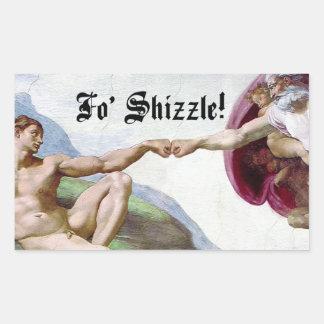 Michelangelo Creation Of Man Fo Shizzle Fist Bump Rectangular Sticker