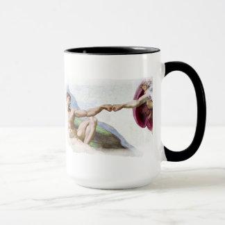 Michelangelo Creation Of Man - God Adam Fist Bump Mug
