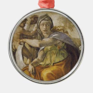 Michelangelo Delphic Sibyl Silver-Colored Round Decoration