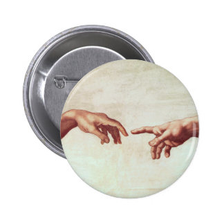 Michelangelo Hands 6 Cm Round Badge