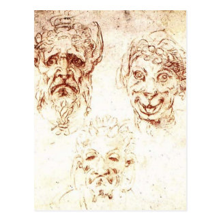 Michelangelo- Studies of Grotesques Postcard