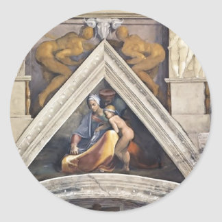 Michelangelo: The Ancestors of Christ: Salmon Round Stickers