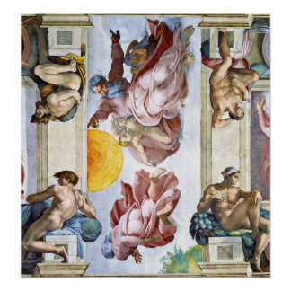 Michelangelo - The creation of sun moon and stars Poster