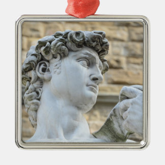 Michelangelo's David, Florence Italy Silver-Colored Square Decoration