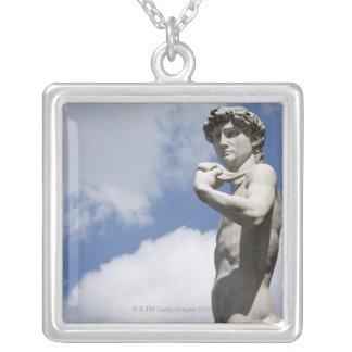Michelangelo's David in the Piazza della 2 Silver Plated Necklace