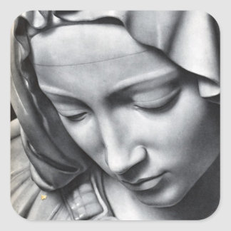 Michelangelo's Pieta detail of Virgin Mary's face Square Sticker