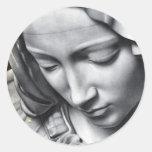 Michelangelo's Pieta detail of Virgin Mary's face Round Sticker
