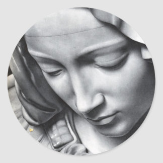 Michelangelo's Pieta detail of Virgin Mary's face Round Stickers