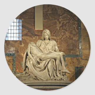 Michelangelo's Pieta in St. Peter's Basilica Round Sticker