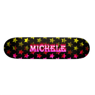 Michele skateboard pink fire and flames design