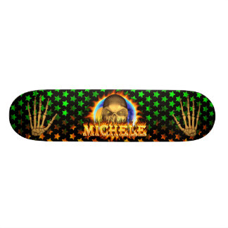 Michele skull real fire and flames skateboard desi